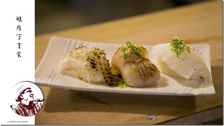 比目魚鰭邊肉炙壽司、干貝炙壽司、軟絲炙壽司-鵝房宮美食-新一點利黃昏市場