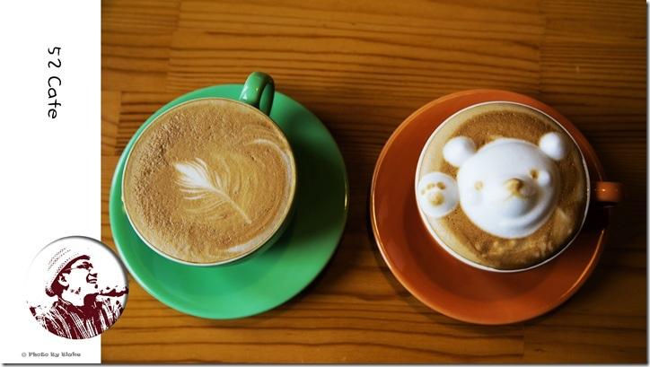 拿鐵-52Cafe.咖啡.輕食-立體小熊拉花