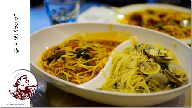 雙拼麵(香蒜白酒蛤蜊義大利麵+茄汁野菇義大利麵)-LAPASTA義大利麵屋